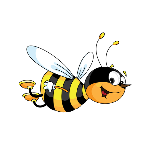 An illustration of a cheerful bee