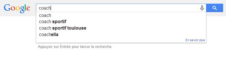 Outil google suggest, en commençant une recherche !