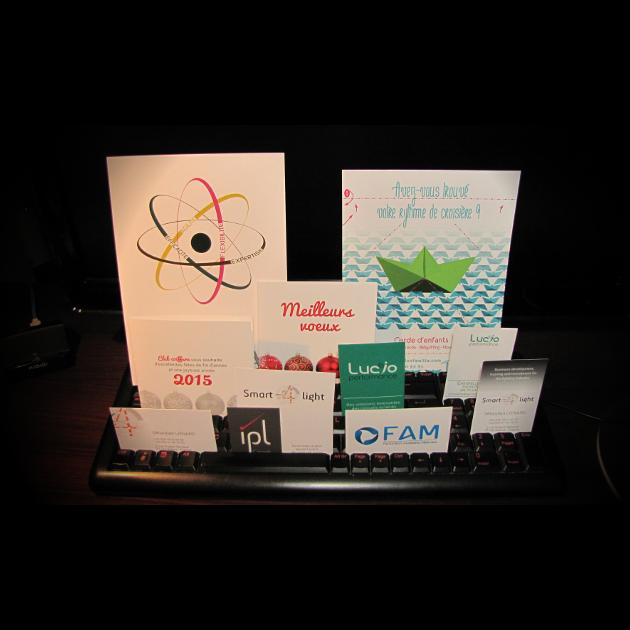 Plaquettes, flyers, cartes de voeux et cartes de visite réalisées par Kwida en 2014